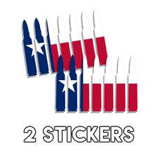 Texas State Flag Bullets Decal Tx Pro Gun Pistol Flag Sticker 2 x Set of 7 Pack