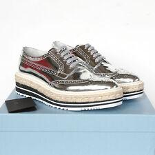 PRADA metallic silver leather platform espadrille oxford brogue shoes 40 /10 NEW