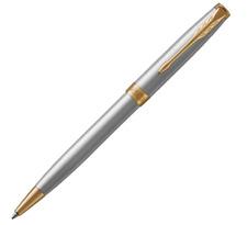 Luxurious Parker Sonnet Ballpoint Pens Steel Color Golden Clip 0.5mm Fine Nib