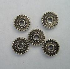 100pcs Tibetan silver Round flowers Beads Cap Spacer 10x2mm