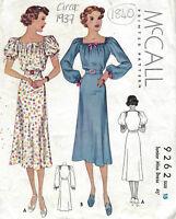 "1937 Vintage Sewing Pattern B33"" DRESS (1840)"