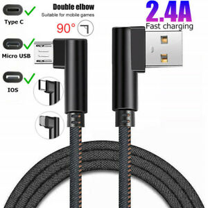 2.4A Double L Right Angle Denim Type-C/IOS/Micro USB Fast Charging Charger Cable