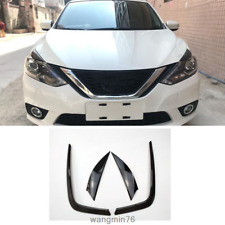 4PC Front Fog Light + Front Eyebrow headlight cover trim FOR NISSAN SENTRA 16-19