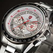 SHARK Silver Red Chronograph Army Steel Band Sport Quartz Men's Wrist Watch