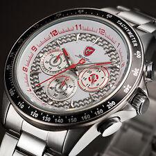 SHARK Silver Red Chronograph Army Steel Band Sport Quartz Men's Wrist Watch