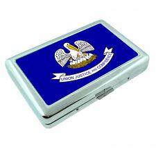 Louisiana State Flag D1 Silver Cigarette Case / Metal Wallet Card Money Holder