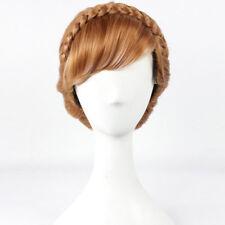 Frozen Princess Anna Wig Brown Crowned Cosplay Wig + Wig Cap