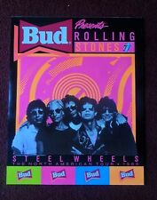 The ROLLING STONES Budweiser Bud Beer Music Poster ~ STEEL WHEELS 1989 US Tour