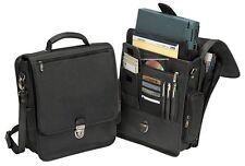 "Gorgeous 13"" Laptop Computer Vertical Cowhide Leather Briefcase Bag Black"