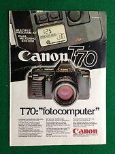 PY62 Pubblicità Advertising Clipping 24x18 cm (1984) CANON T70 FOTOCOMPUTER