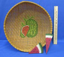 Woven Basket w/ Cross Stitched Watermelon Design & 2 Wood Watermelon Slices