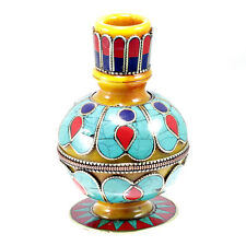 Tibetan Resin Turquoise Lapis Coral Setting Brass Carving Flower Vase Artisan