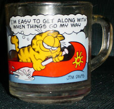 "McDonald's Garfield Glass Coffe Cup Mug ""I'M EASY TO GET ALONG..."" Rare Vintage"