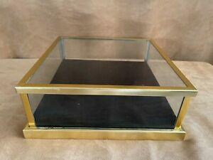 Display case clear black box mirror 10 1/2 x 4 miniature jewelry watch toy