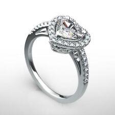 VS1 HALO DIAMOND RING HEART 1.25 CT 14K WHITE GOLD ANNIVERSARY SIZE 5.5 6.5 7.5