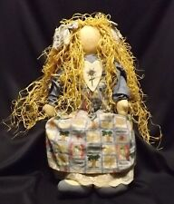 Extra Large Cloth Doll in Gingham & Lace Pinafore