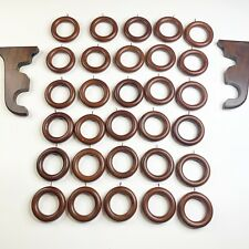 Lot Of 30 Wood Curtain Rings Eye Hook Brown With Rod Holder Drapery