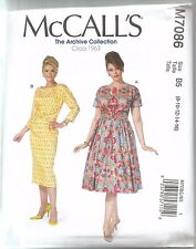McCall's Sewing Pattern 7086, Retro 1963 Dresses, Variations, Sizes 8 - 16, New