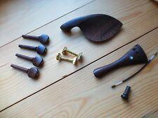 Accessori per violino, 4/4, insolito wengé legno, Pioli, Cordiera, Chin riposo, fine PIN!