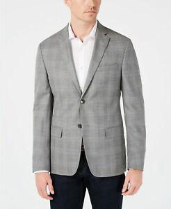 $350 Calvin Klein Slim-Fit Silver & Blue Plaid Silk Linen Sport Coat 46R 46 NEW