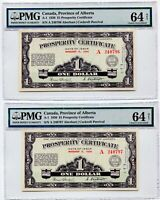 2x CONSECUTIVE SERIAL NUMBER 1936 Alberta Prosperity Certificates PMG CH Unc 64