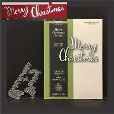 Merry Christmas Script metal die - Poppystamps dies 1607 words,phrases,holidays