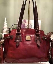 Dooney Bourke Toledo Florentine Leather Winged Tote Burgundy Wine Red & Brown