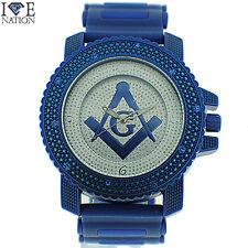 Masonic Watch Hip Hop Style Elegant Look Ice Nation Premium Band  # W2385 New
