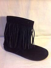 Nine West Black Ankle Suede Boots Size 7.5M (Uk Size 5.5)
