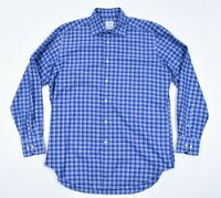 DAVID DONAHUE Cotton Plaid Check Shirt Blue Lavender Casual Dress Button Down L