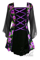 Plus Size Gothic Flirty Cabaret Corset Top Black w Rose Noir 1X 2X 3X 4X 5X