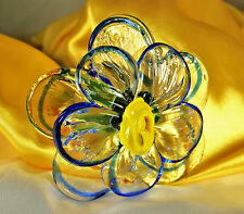 """MURANO Italy FLOWER Stemmed Hand Blown ART GLASS 19.25"""" Multi Colors Excellent"""