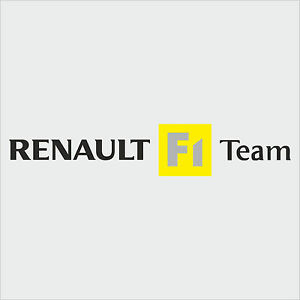 1 x Renault F1 Team Sticker Decal New Style - BLACK TEXT (Clio, megane, sport)
