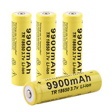 4pcs 3.7V 18650 9900mah Li-ion Rechargeable Battery For LED Flashlight Torch ~UL