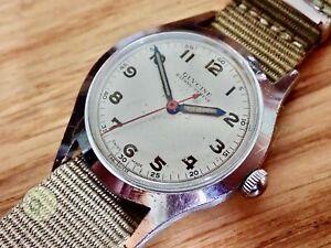 Mens working vintage military type watch GLYCINE BIENNE-GENEVE SWISS 17j  felsa