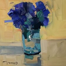 Jose Trujillo Oil Painting Impressionism Still Life Blue Flowers Signed Modern