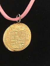 "Gold Doubloon Coin WC36 Gold In Fine English Pewter On a 18"" Pink Cord Necklace"