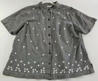 Fashion Bug Women Short Sleeve Button Down Shirt 18 20W Black White Plaid Floral