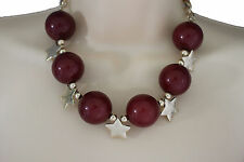 Women Short Red Necklace Gold Metal Stars Big Ball Beads Fashion Jewelry Earring