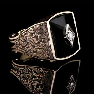 Men 925 Silver Turkish Handmade Jewelry Rings Retro Ring Wedding Party Size 5-13