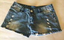 "7 11 Seven Eleven Brand Womens Distressed Blue Jean Denim Shorts 32"""