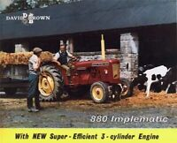 DAVID BROWN 880 IMPLEMATIC TRACTOR SALES COVER BROCHURE/POSTER ADVERT A3