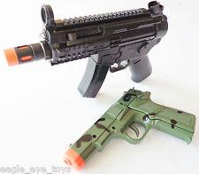2x Toy Machine Guns Elec MP5 Toy Rifle w/ Sound FX & Camo 9MM Pistol Cap Gun