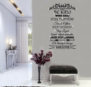 Be Kind Work Hard positive quotes Wall Art Stickers, Decals Murals
