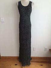 ZARA Collection Sleeveless Maxi Dress Black w/White & Gray Floral Size 8