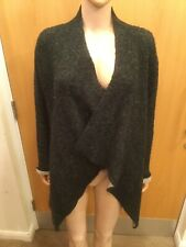 Zara Knit Wear Dark Grey Buttonless Caridgan - UK Ladies Size M
