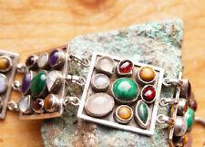 3 cm Breit Silber Armband 17 19  21 cm Handarbeit Granat Multistein Armkette