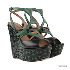 Alaia Black Green Laser-Cut Leather Wedge Sandals Heels Shoes IT35.5 UK2.5