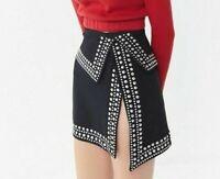 HAUTE ROGUE Corrie Studded Black Mini Skirt Women's L NEW