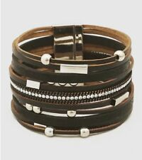 Crsystal Pave Square Beads Multi Strand Magnetic Clasp Bracelet - Black